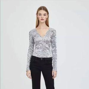 Zara sequin silver v neck top